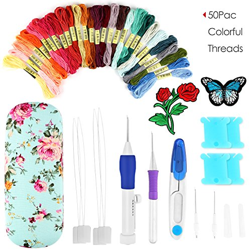 Vanzon Magic Embroidery Pen Punch Needles, Embroidery Pen Set Knitting Sewing Tool With Storage Box 50 Colored Threads For DIY Sewing