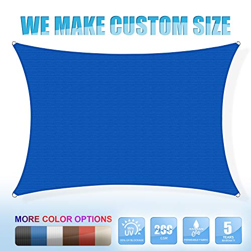 Amgo Custom Size 18 x 24 Custom Size Blue Rectangle Sun Shade Sail Canopy Awning, 95 UV Blockage, Water Air Permeable, Commercial and Residential, 5 Years Warranty Available for Custom Sizes