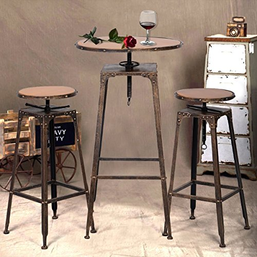 Giantex 3pc Industrial Vintage Metal Design Bistro Set Adjustable High Bar Chair Antique Buy