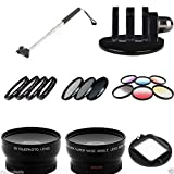 Extendable Monopod W Gopro Mount 13 Pc Filters & Lens Kit for Hero 2 3 3+ 58mm