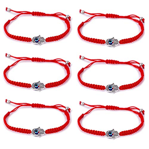 6pcs Evil Eye Hamsa Hand String Kabbalah Bracelets for Protection and Luck Hand-Woven Red Black Cord Thread Friendship Bracelet Anklet (6pcs-red Hand)