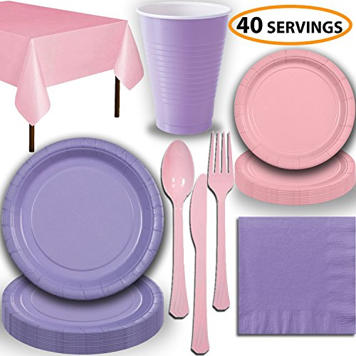 Disposable Party Supplies, Serves 40 - Lavender and Light Pink - Large and Small Paper Plates, 12 oz Plastic Cups, Heavyweight Cutlery, Napkins, and Tablecloths. Full Two-Tone Tableware Set -
