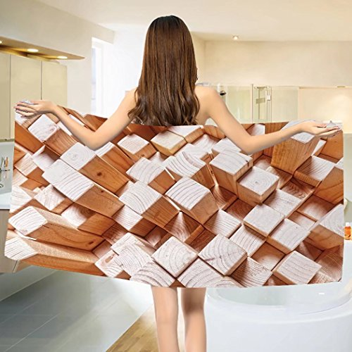 - Geometric Bath Towel Natural Wooden Rustic Style Square Figures High and Low Oak Logs Timbre Design Cotton Beach Towel Sand Brown (55