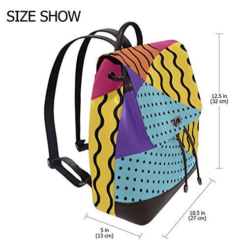 Abstrakt Memphis ryggsäck handväska mode PU-läder ryggsäck ledig ryggsäck för kvinnor