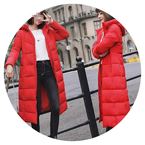(Winter Jacket Female Parka Coat Long Down Jacket Plus Size Hooded Duck Down Coat Jacket,Red,5XL)