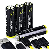 USB Rechargeable Lithium Batteries AA Battery-Li-ion Battery USB Cell Long-Lasting Backup Power Pack Rechargeable with Micro-USB Charging Cable (4 Count)-1.5V,1250mAh,High-Capacity Battery