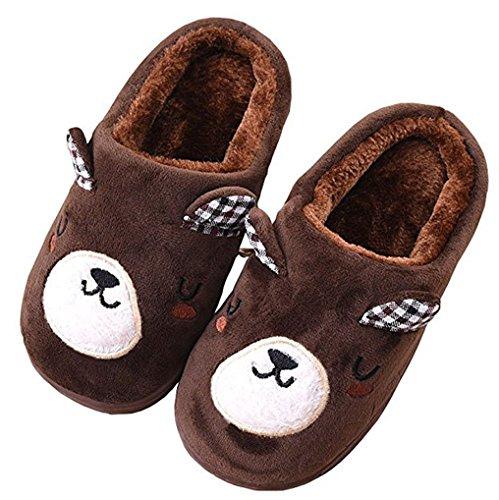 D.S.MOR Little Kid Coffee Bear Plush Cute Cute Slippers Bedroom Slippers (13.5 M) by D.S.mor (Image #1)