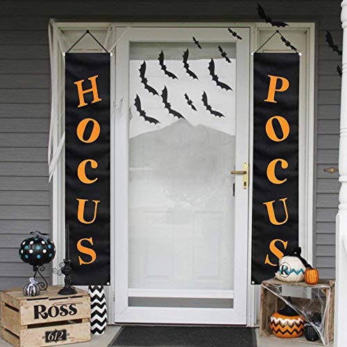 MORDUN Halloween Decorations Outdoor | Hocus Pocus Porch Sign | Witch Décor Banners for Party Yard Wall Outside Door Classroom -