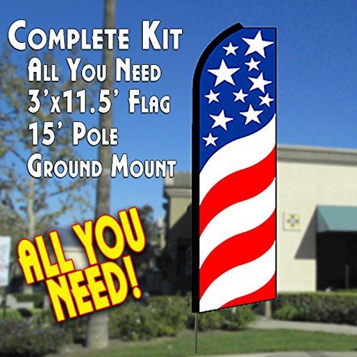 Vista Flags USA Swirls Flutter Feather Banner Flag Kit (Flag, Pole, Ground Mt)