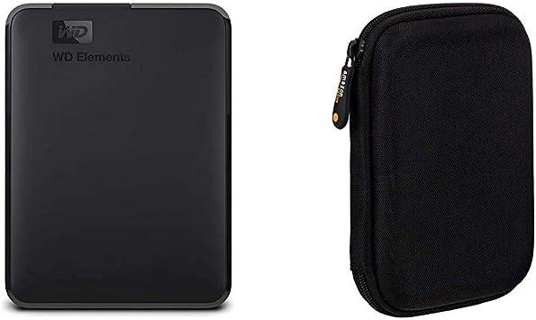 WD Elements - Disco Duro Externo portátil de 2 TB con USB 3.0, Color Negro + AmazonBasics - Funda de Disco Duro, Color Negro y Naranja: Amazon.es: Informática