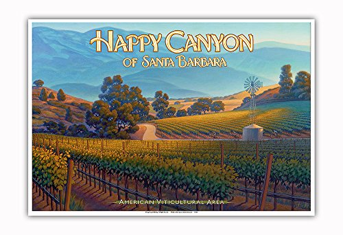 Pacifica Island Art Happy Canyon of Santa Barbara Wineries - Central Coast AVA Vineyards - California Wine Country Art by Kerne Erickson - Master Art Print - 13in x 19in