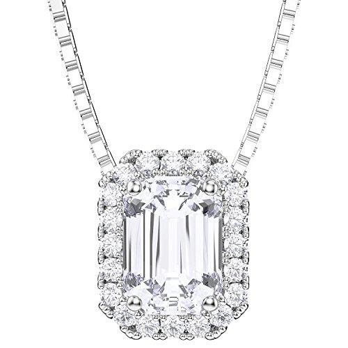 Princesse Argent Sterling Diamant Pendentif émeraude (or blanc)
