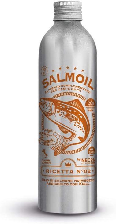 SALMOIL by NECON PET FOOD Receta 2, alimento complementario / alimento para perros y gatos a base de aceite de salmón noruego y krill 250ml, rico en vitamina E, Omega3, sin conservantes, Made in Italy
