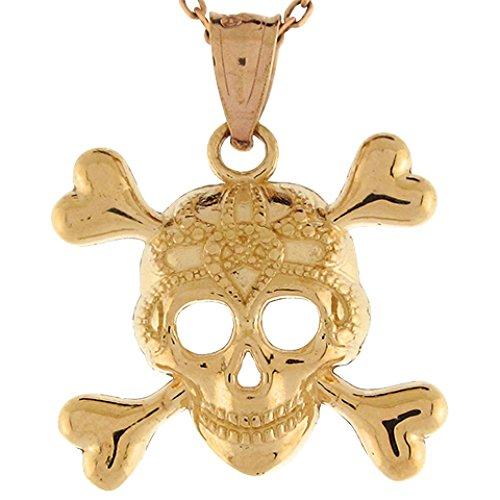 - Jewelry Liquidation 10k Real Yellow Gold Skull and Crossbones Pirate Pendant