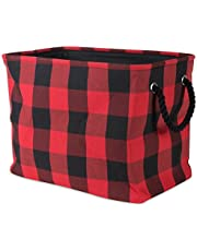 DII Collapsible Polyester Storage Basket Or Bin with Durable Cotton Handles, Home Organizer Solution for Office, Bedroom Closet, Toys, and Laundry, Red Buffalo Check