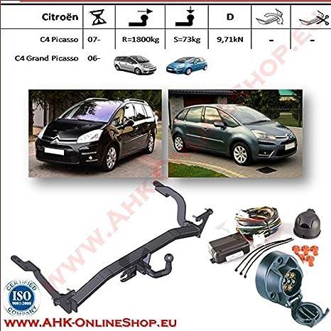 AHK Remolque con eléctrico Juego de 7 pines para Citroen C de 4 Picasso/Grand Picasso 2007 de anhängev orrichtung - Colgar fijo, con angeschraubtem Rótula: ...