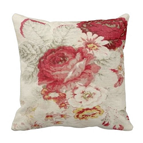 French Country Floral Pillow Sham for Sofa Throw Pillow Covers Decorative Outdoor Cushion Covers Canvas Accent Pillow Cases 18x18