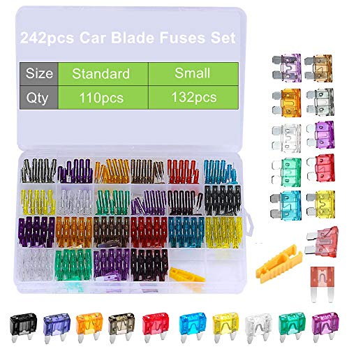 - 242pcs Auto Car Blade Fuses Standard & Small Size Assorted Sets 2A 3A 5A 7.5A 10A 15A 20A 25A 30A 35A 40A, OUHL Mini Automotive Replacement Fuse Assortment Kit with Puller for Boat RV SUV