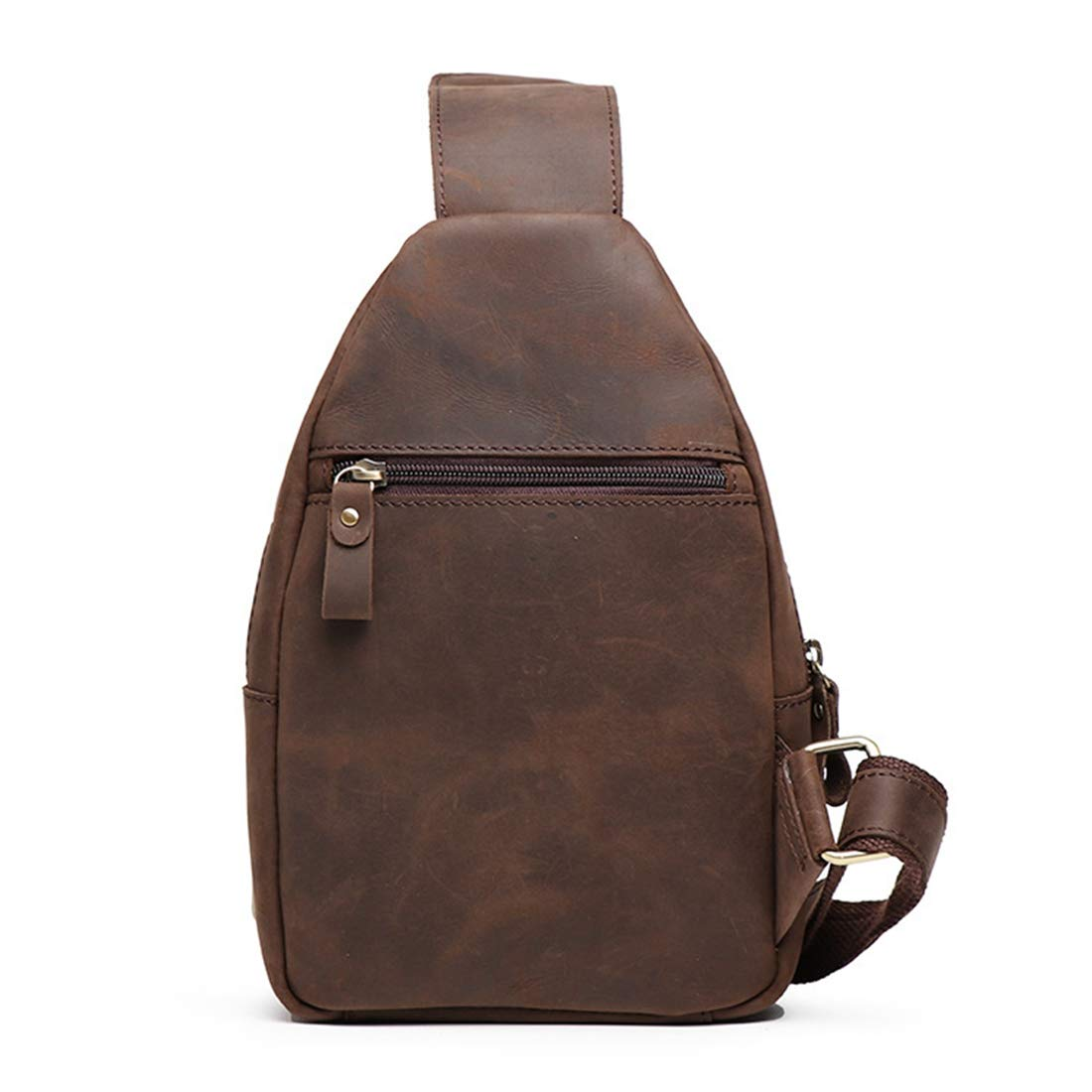 Color : Dark Brown Carriemeow Mens Leather Chest Bag Casual Backpack Large Capacity Messenger Shoulder Bag Chest Bag Pocket