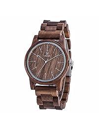 Morrivoe Mens Natural Wood Watches 50mm Case Analog Display Japan Quartz Wristwatches Gift (Coffee)