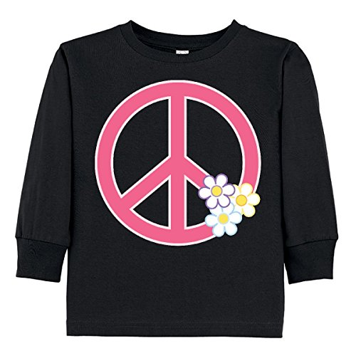 inktastic - Peace Sign Cute Daisy Toddler Long Sleeve T-Shirt 3T Black 31420