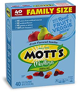 Mott's Medleys Fruit Snacks, Assorted Fruit Gluten Free Snacks, Family Size, 40 Pouches, 0.8 oz Each