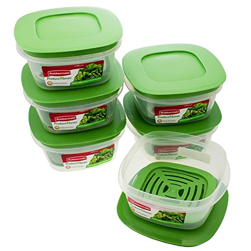 Rubbermaid Produce Saver Square 5-Cup Food Storage Container, 1 Count (Pack of 6) (Trays Fruit Storage)