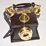 royalantique NAUTICAL STYLE BRASS AND WOOD HUT RETRO TABLE TELEPHONE DIAL ANCIENT PRIMITIVE
