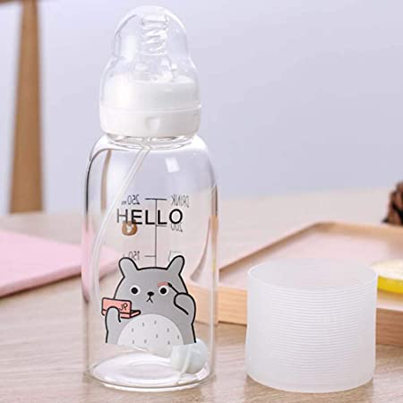 leader Vidrio Resistente a Alta Temperatura Creativa, Botella de Paja para niños, Taza de Regalo, 300 Ml de una Sola Capa,Gris: Amazon.es: Hogar