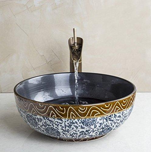 GOWE Art Antique Bathroom Sink Set,Round Ceramic Vessel Sink With Waterfall Faucet 0