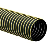Rubber-Cal ''Thermoplastic Flex'' (Medium-Duty) Thermoplastic Hose - 2'' ID x 12.5ft Length Hose -Black (Fully Stretched)