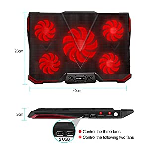 """EletecPro Laptop Cooler External Cooling Fans Pad For 12""""-17"""" Laptops, 5 Quiet Fans with Red LED Lights, Dual USB 2 Ports, Adjustable Stand Mount Model"""
