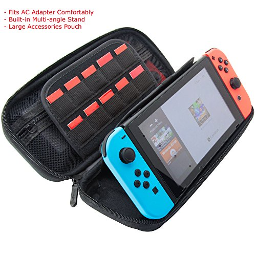 ButterFox Carrying Case Stand Compatible with Nintendo Switch with 18 Game card holders and 2 Micro SD Slots- Black