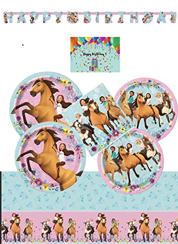 Spirit Riding Free Party Supplies and Decorations Kit for 16 - Lunch and Dessert Plates, Birthday Banner, Table Cover and Napkins Bundled with Birthday Card by JPMD Party -