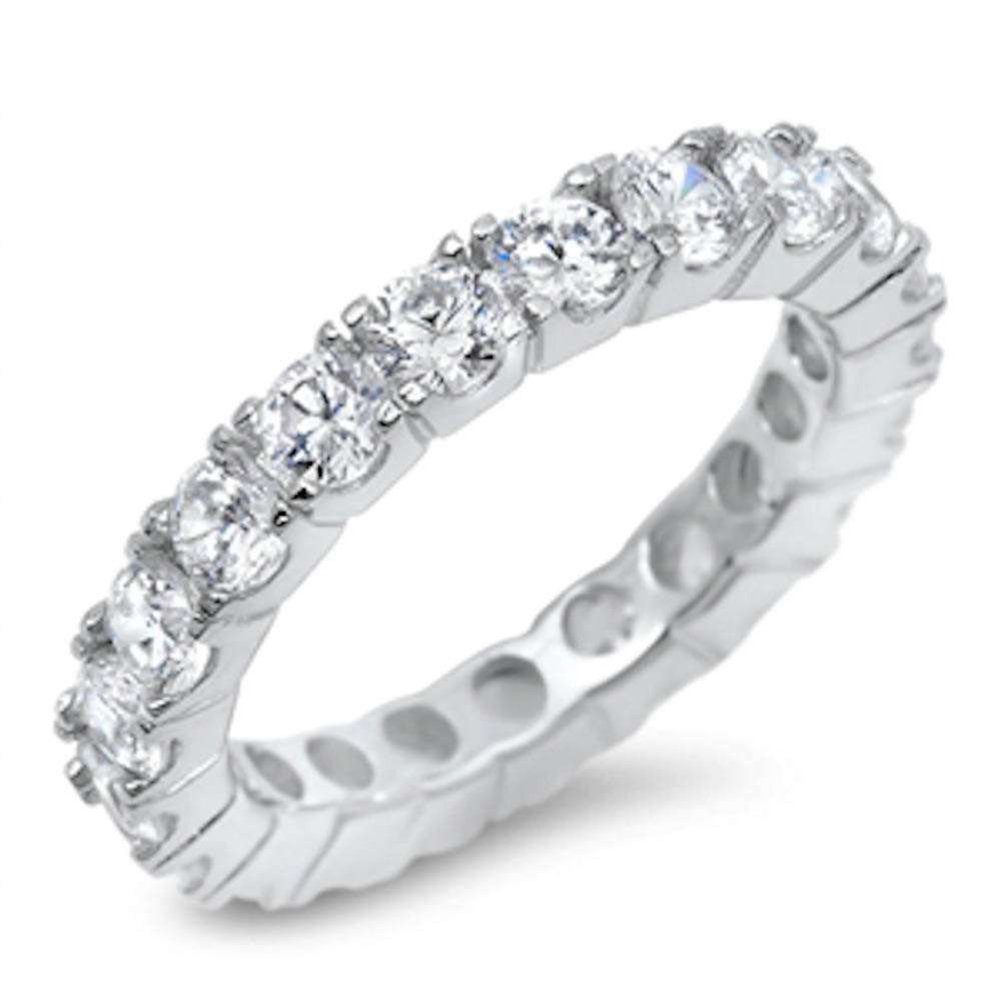 4mm Full Eternity Stackable Wedding Engagement Eternity Band Ring 925 Sterling Silver Choose Color