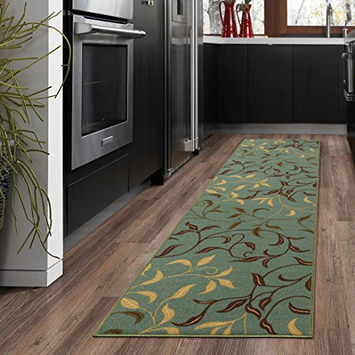 Sage 2'6 X 10' Runner - Ottomanson Otto Home Contemporary Leaves Design Modern Runner Rug with Non-Skid Rubber Backing, Sage Green/Aqua Blue, 20