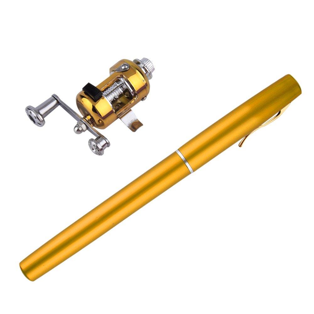 1pc Mini Portable Aluminum Alloy Pocket Pen Shape Fish Fishing Rod Pole with Reel