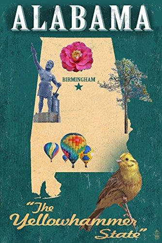 (Birmingham, Alabama - State Icons (12x18 Art Print, Wall Decor Travel Poster))