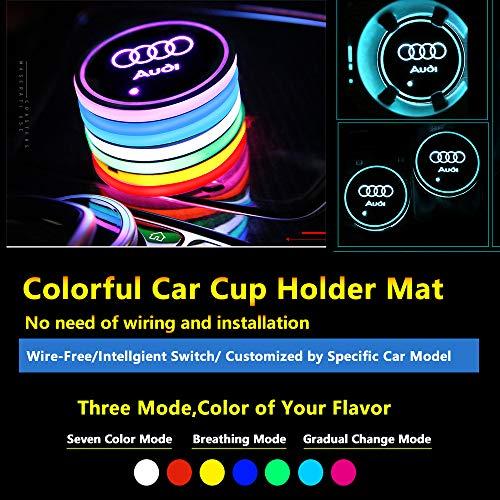2pcs MultiColor Car LED Coaster Lighting USB Charging Light Accessories Interior Decoration Lights Mouldings Trim Lamp For 2018 2017 2016 2015 Audi tt q5 a4 a6 q7 a3 a8 a5 q3 a1 s3 sq5 tts s5 s6 a8l s