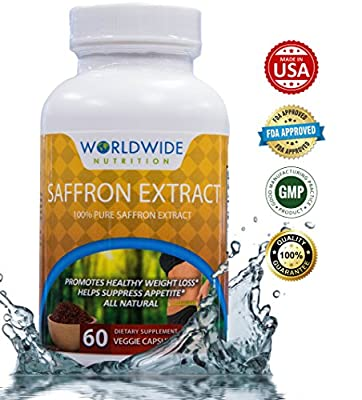 Worldwide Nutrition 100 Percent Pure Saffron Extract Dietary Supplement, Weight Loss Support, Natural Appetite Suppressant, 60 Veggie Capsules