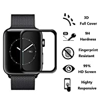 [2-Pack] Apple Watch Series 4 44mm Screen Protector Glass, HOMSRAY 3D Full Coverage Tempered Glass Screen Protector Film for iWatch 44mm Series4 from HOMSRAY