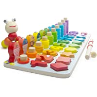 Early Educational toys,Kids Wooden Stacking Toys,Number Puzzles & Counting Board for Preschool Education 3-5 Years Old, Number& Shape& Color Toys
