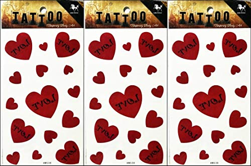 PP TATTOO 3 Sheets Love Red Heart Valentine Temporary Tattoos Body Art Tatoos Sticker Sexy Tattoos Fake for Women Men -