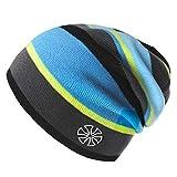 Botack Beanie Hat, Mens Winter Rainbow Warm Knit Slouchy Cap for Hiking Running Women 1 Piece Black