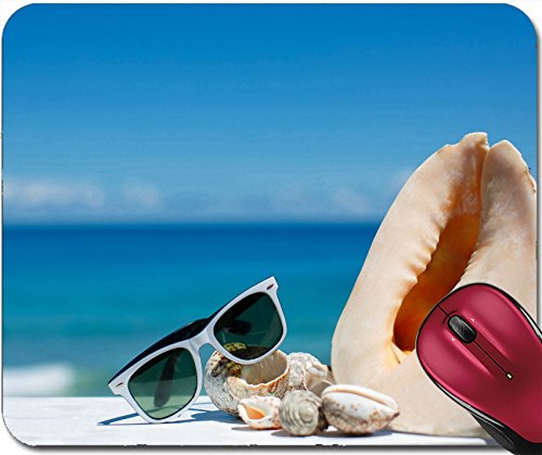 Liili Mousepad ID: 27458794 Sunglasses and beautiful seashells lying on a background of blue - Sunglasses Custom Imprinted