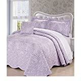 4 Piece 120 X 120 Lavendor Purple Oversized Damask Bedspread King To The Floor, Hangs Over Edge Floral Bedding Drops Side Bed Frame Drapes Large Extra Wide Long French Country Pattern, Polyester