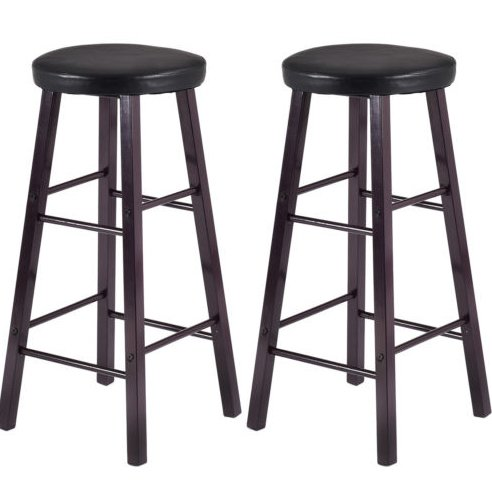 Great American Bar Stools Oak Bar Stools (Set of 2 PCS Bar Stools Metal PU Seat Kitchen Pub Dining Furniture Black New)