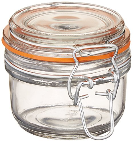 Anchor Hocking 5.4-Ounce Mini Glass Jar with Hermes Clamp Top Lid, Set of - Heremes Jar