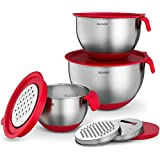 Best Stainless Steel Mixing Bowls Set of 3 with Grater Attachments - Nesting Bowls Have Non-Slip Silicone Handles, Non-Slip Rubber Base, Measurement Marks and Airtight Lids, By Belwares