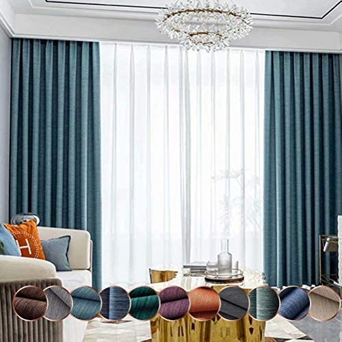 Leadtimes Solid Light Blocking Curtains Textured Linen Decorative Blackout Grommet Panel